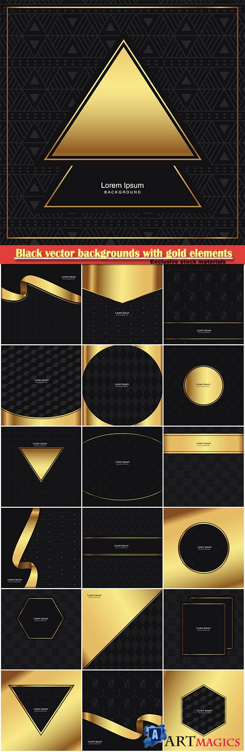 Black vector backgrounds with gold elements