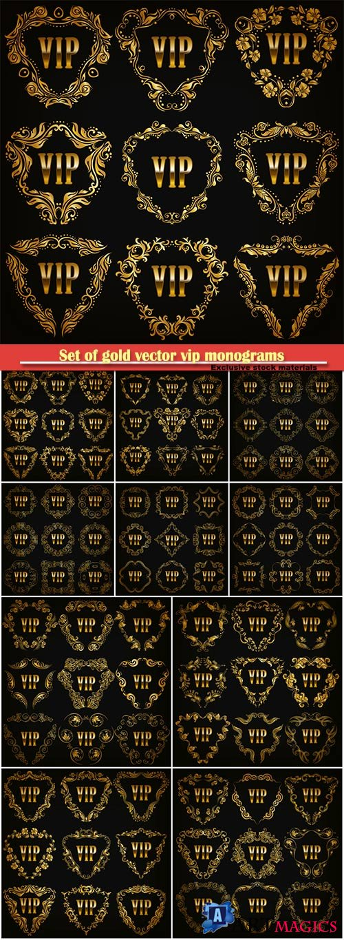 Set of gold vector vip monograms for graphic design on black background