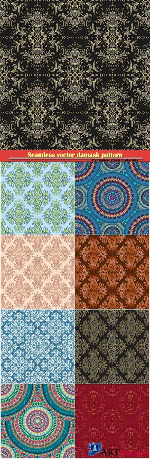 Seamless vector damask pattern, endless pattern with vintage mandala elements