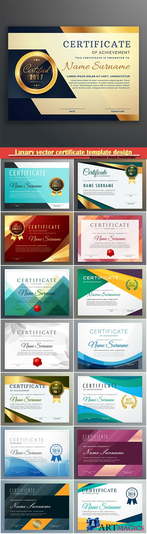 Luxury vector certificate template design in geometric shape style