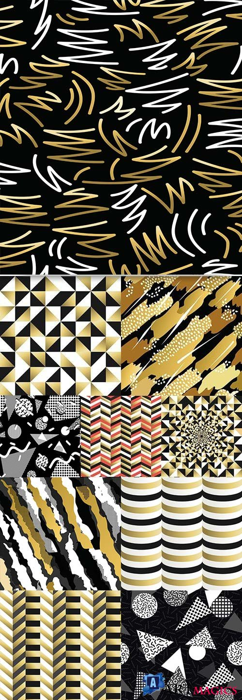 Black and gold geometric abstract backgrounds