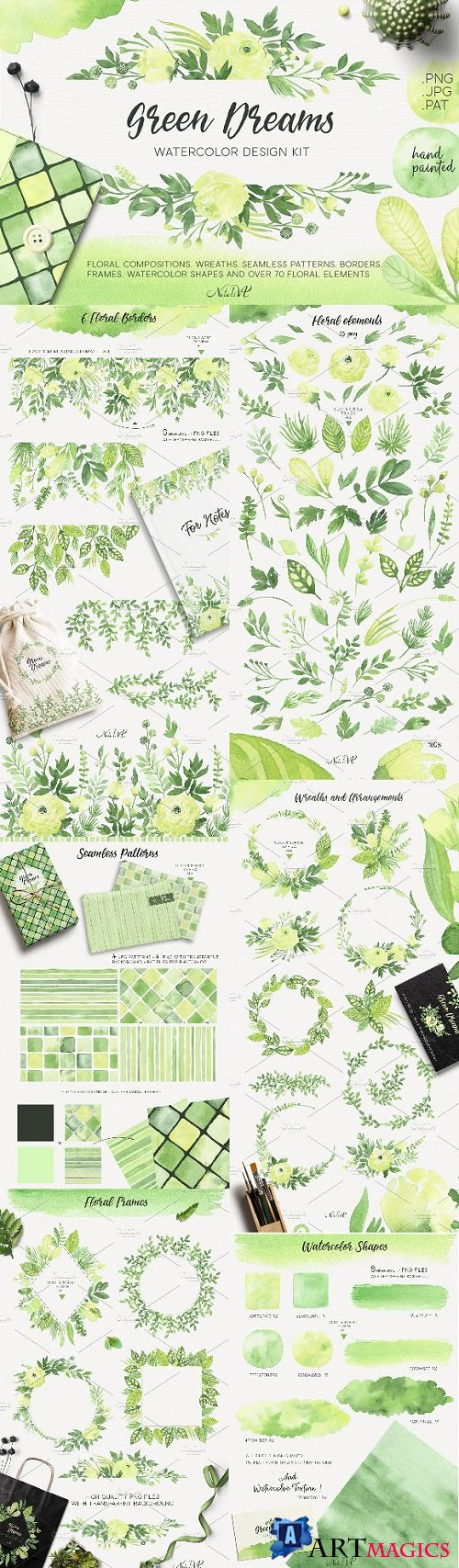 Green Dreams Design kit watercolor 1919082