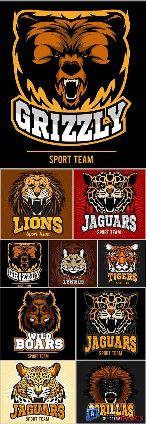 Animal predators design emblem sports