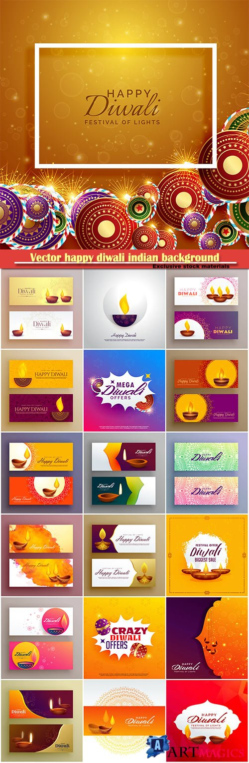 Vector happy diwali indian background with festival crackers and lamps