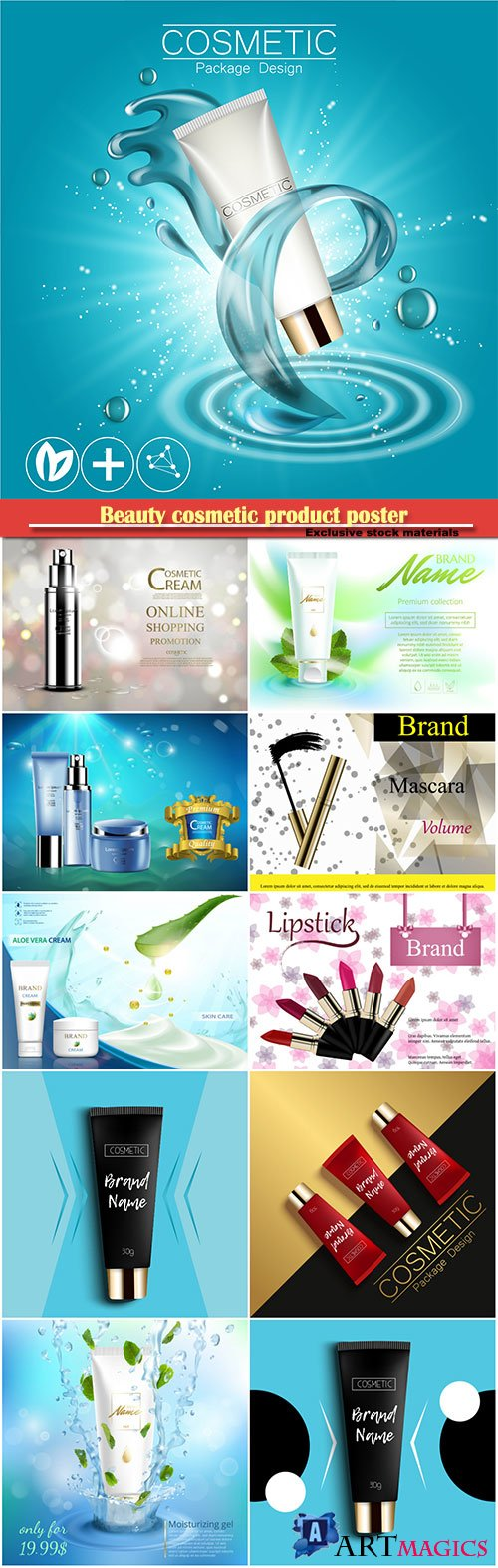Beauty cosmetic product poster, cosmetic bottle package skin care cream