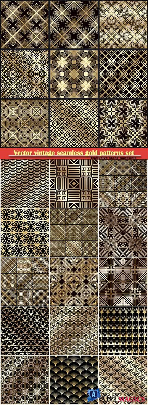 Vector vintage seamless gold patterns set