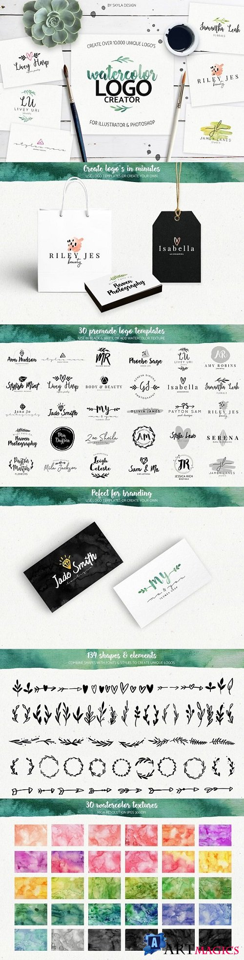 Premade Watercolor Logo Creator Kit 1874121