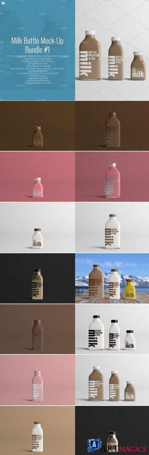 Milk Bottle Mock-Up Bundle #1 1819767