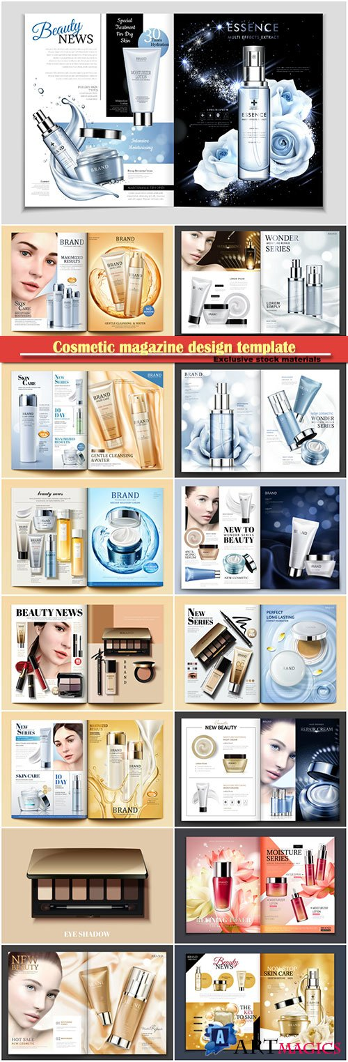 Cosmetic magazine design template, 3d vector illustration