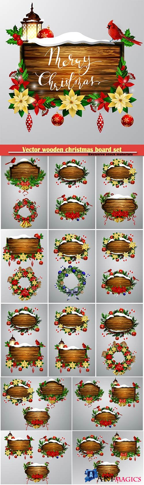 Vector wooden christmas board set with christmas tree and decorations
