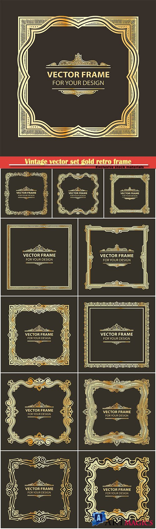 Vintage vector set gold retro frame