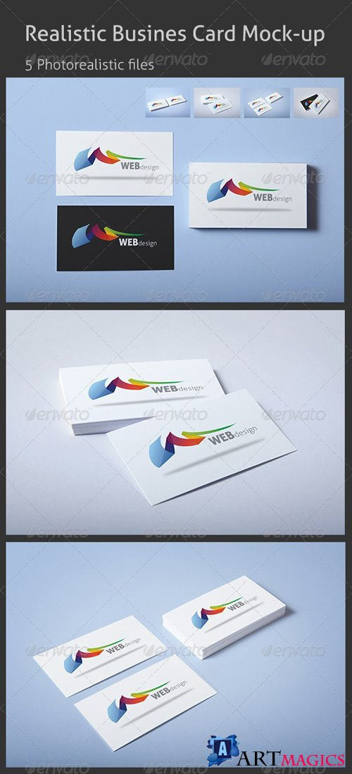 Realistic Business Card Mock-up - 344146