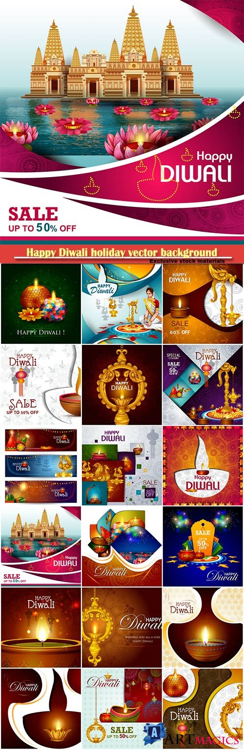Happy Diwali holiday vector background, shopping sale offer