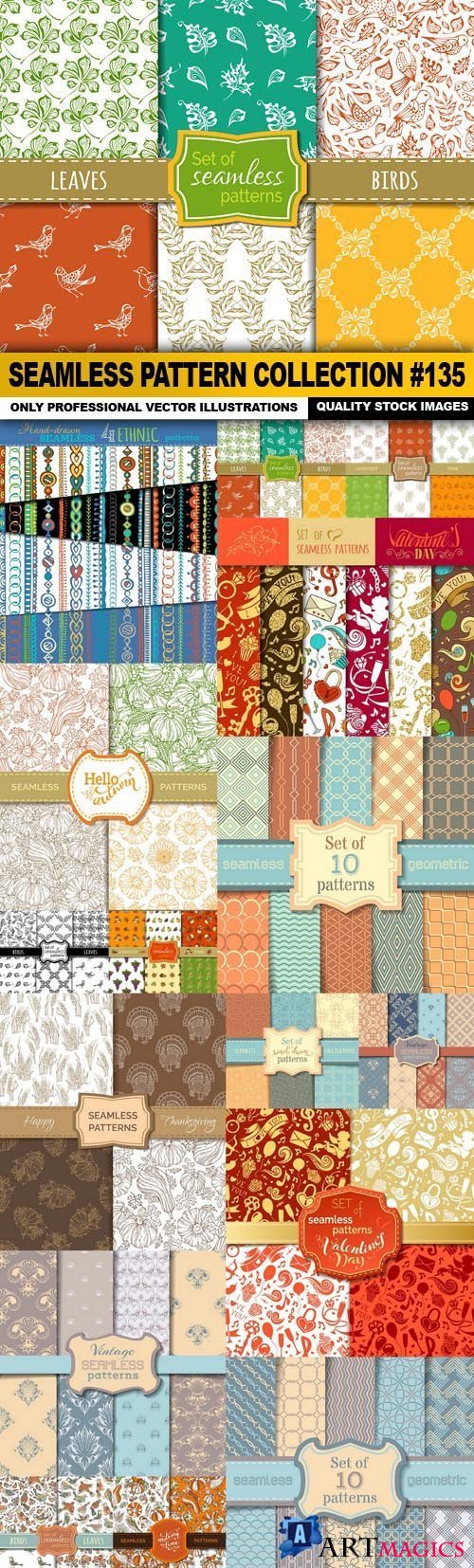 Seamless Pattern Collection #135 - 16 Vector