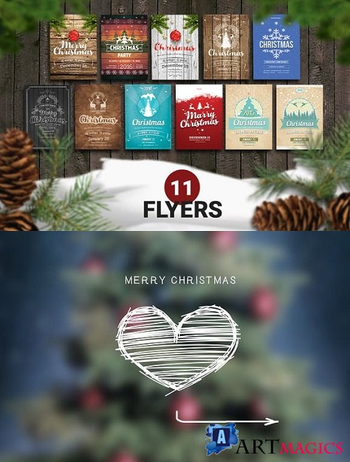 11 Christmas Retro Flyer Template - 944127