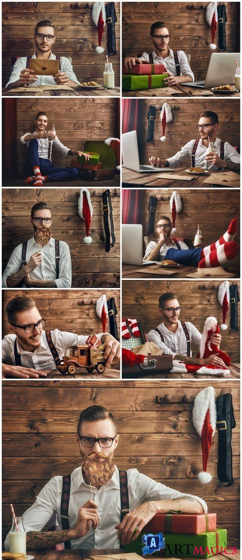 Hipster young Santa Claus - 9xUHQ JPEG Photo Stock