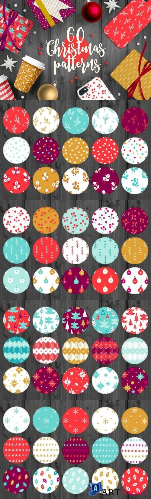 60 Christmas Seamless Patterns - 1986473