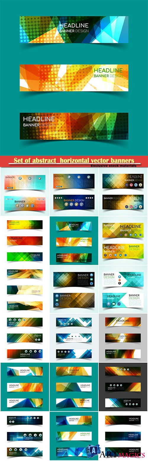 Set of abstract  horizontal vector banners with geometric shape