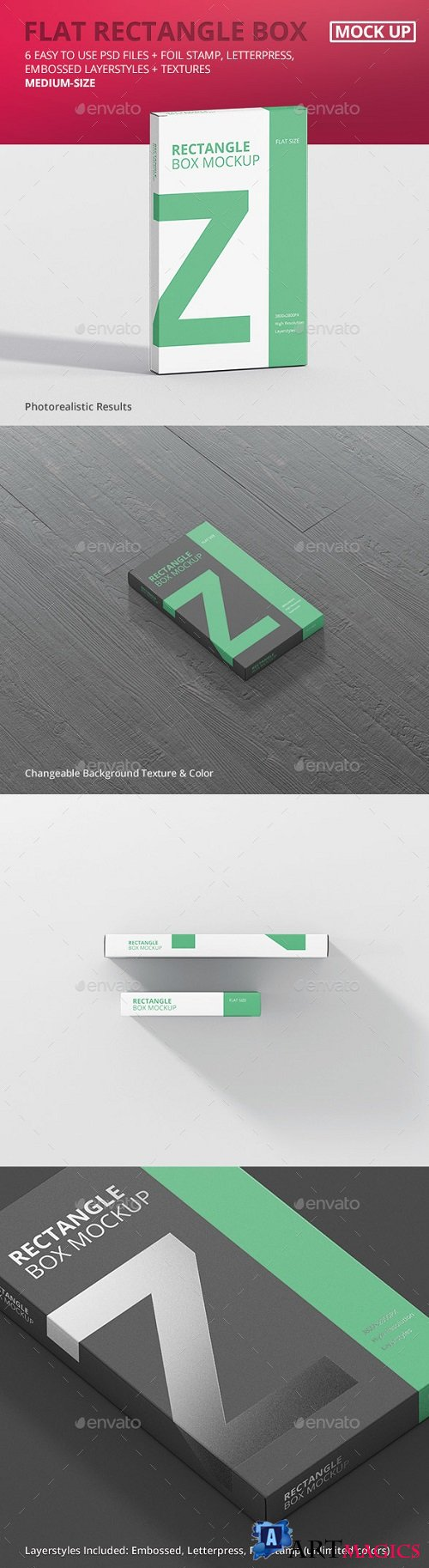 Box Mockup - Medium Size Flat Rectangle 21006853