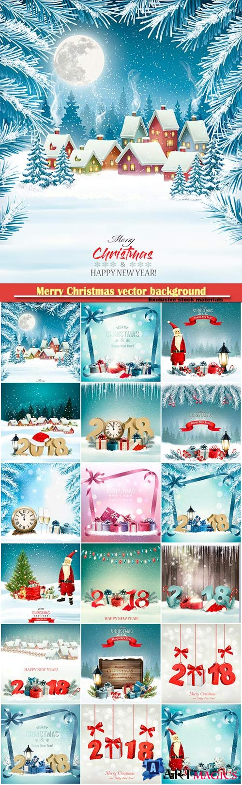 Merry Christmas vector background with 2018 and gift boxes and branch of tree
