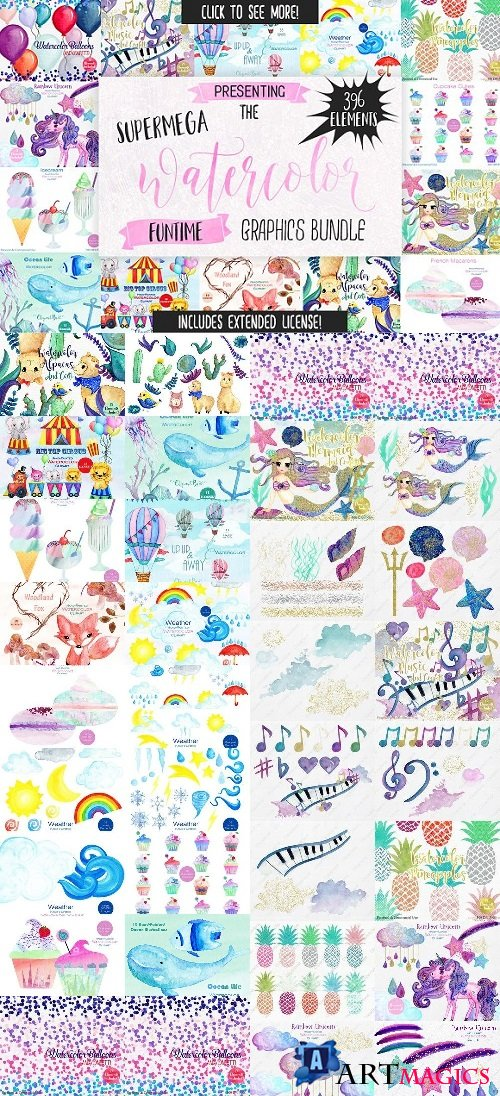 Big Watercolor Fun Graphics Bundle - 1357734