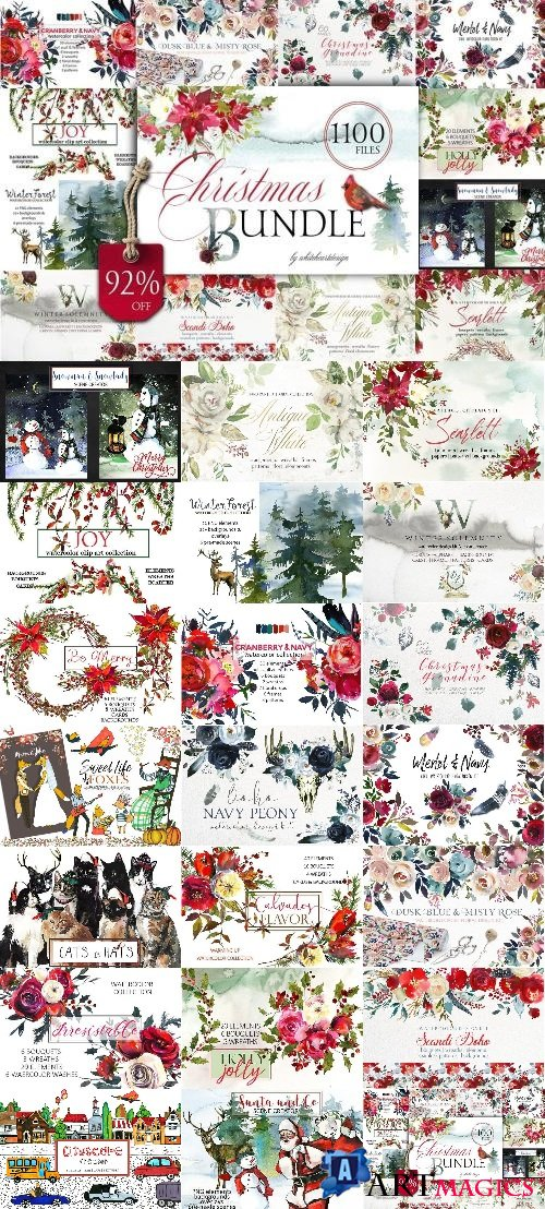 Christmas Watercolor Floral Bundle 2011291