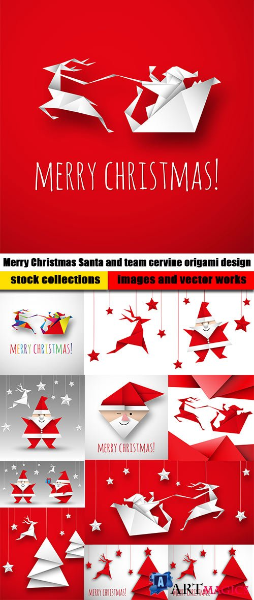 Merry Christmas Santa and team cervine origami design