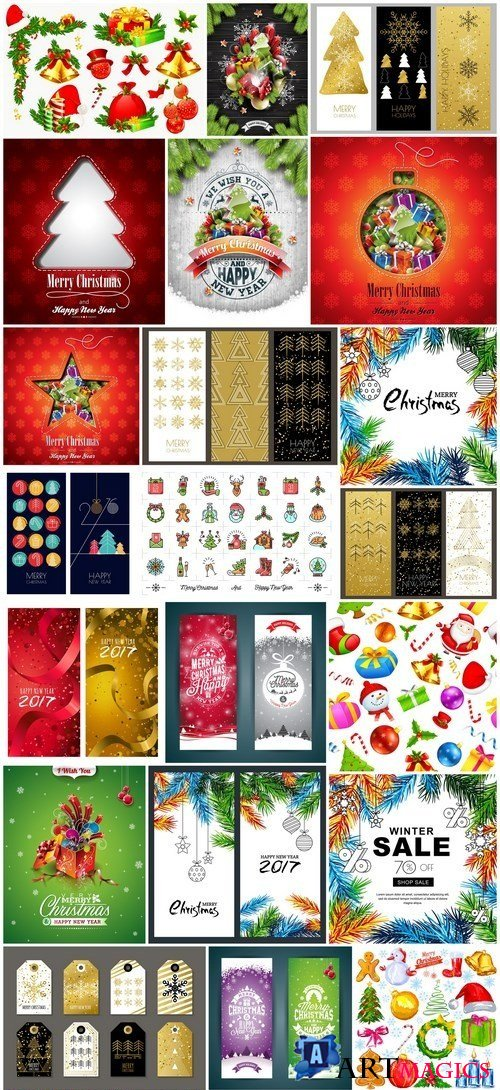 New Year 2017 & Christmas Design 11 - 24xEPS Vector Stock