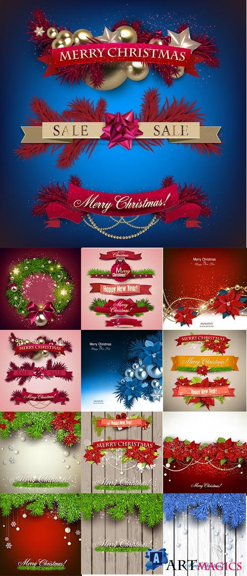 Christmas Backgrounds & Ribbons 25xEPS