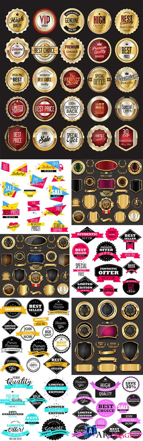 Premium luxury badges and vintage labels collection 23