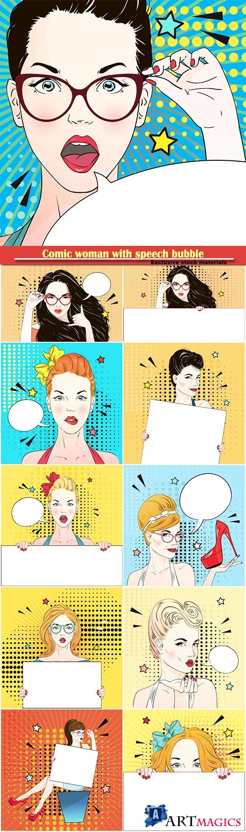 Comic woman with speech bubble on a vector background