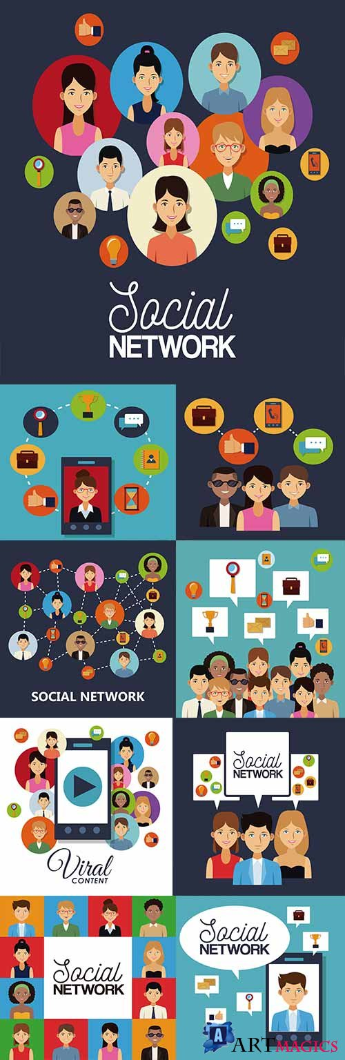 Network social media business internet and technology