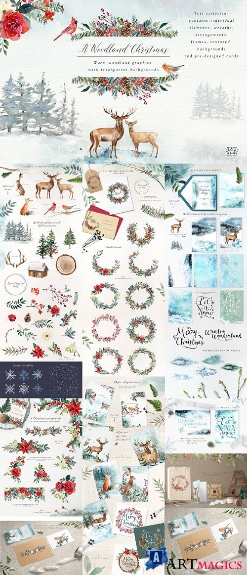A Woodland Christmas Graphic Set - 1915814
