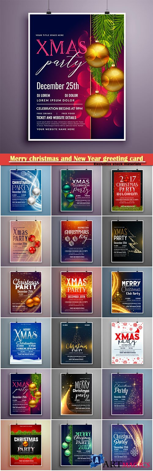 Merry christmas and New Year greeting card vector # 9