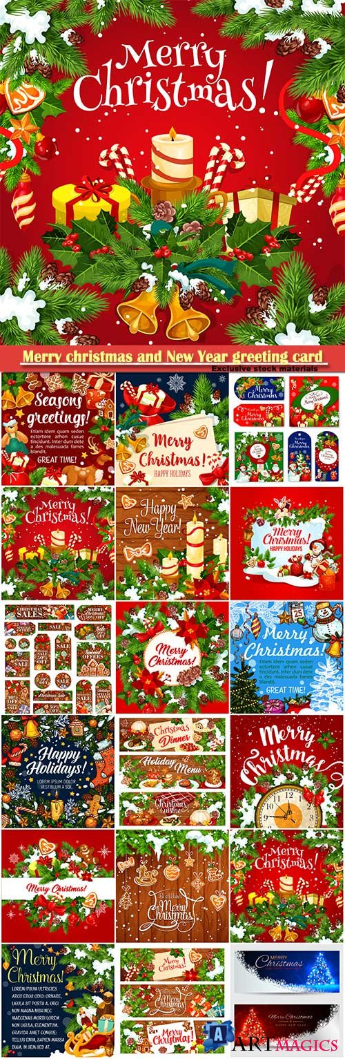 Merry christmas and New Year greeting card vector # 11
