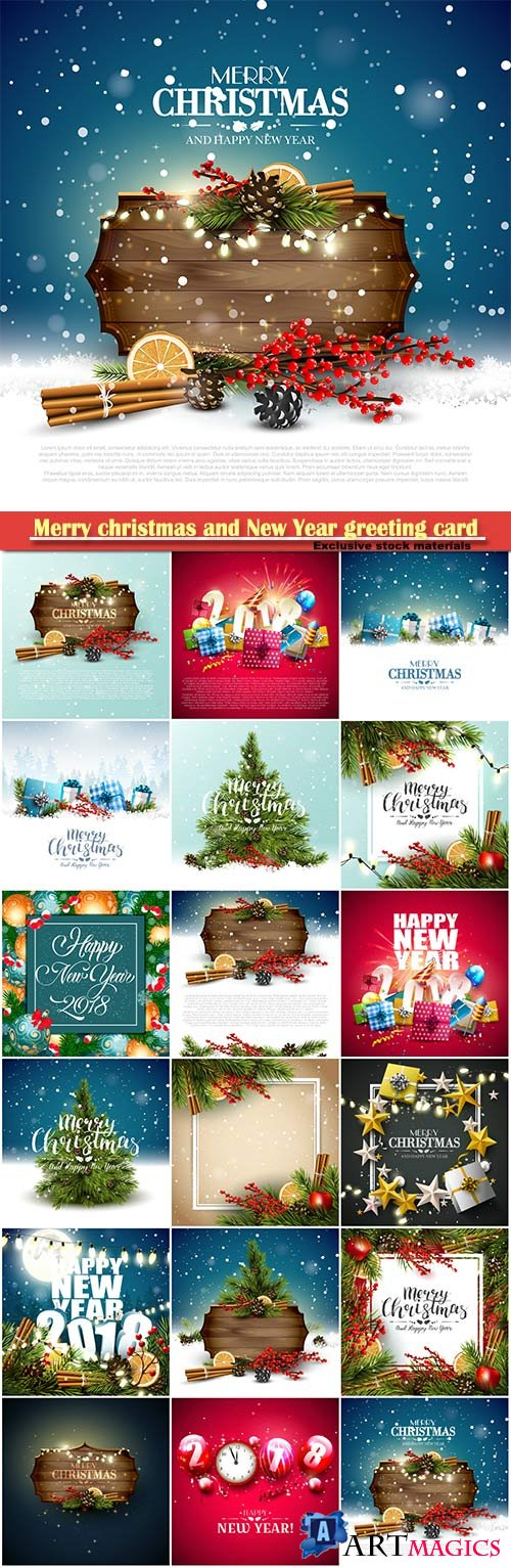 Merry christmas and New Year greeting card vector # 5
