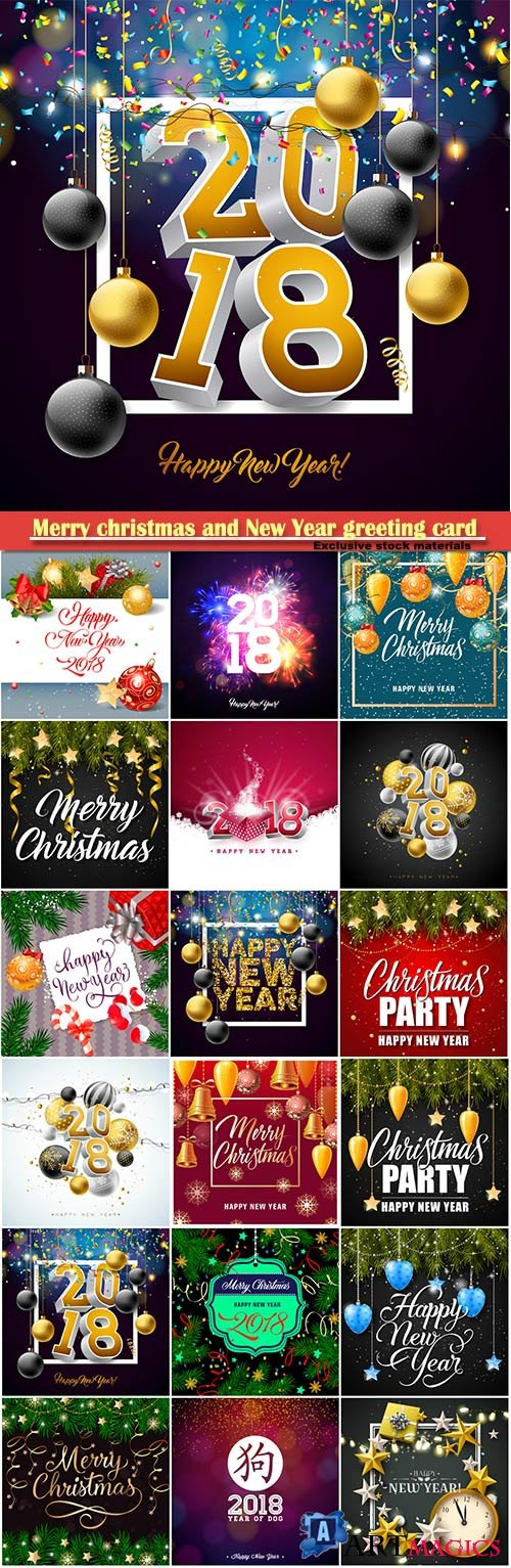 Merry christmas and New Year greeting card vector # 17