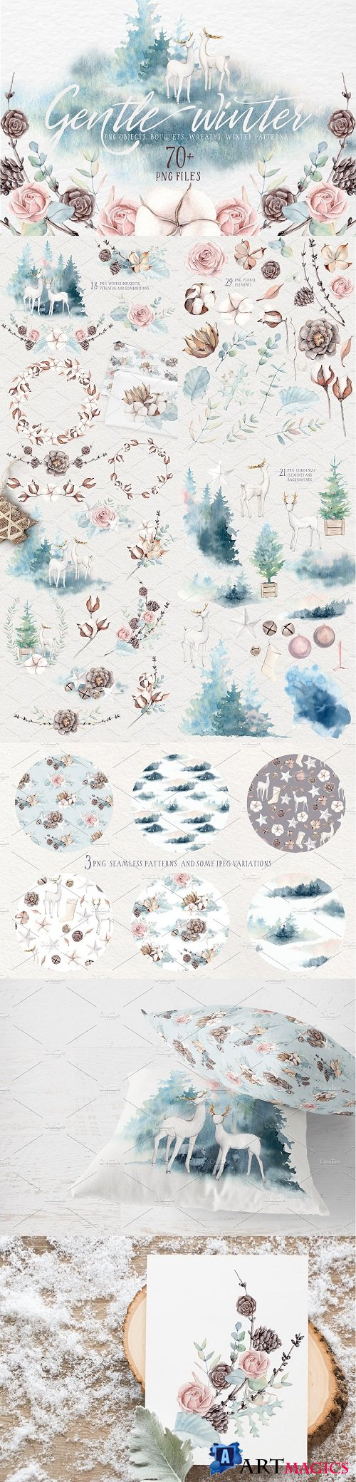 GENTLE WINTER Watercolor Collection - 2034307