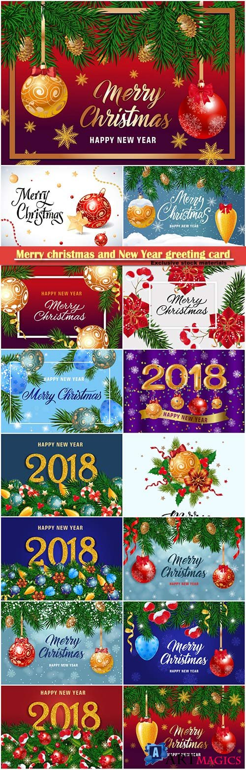 Merry christmas and New Year greeting card vector # 29
