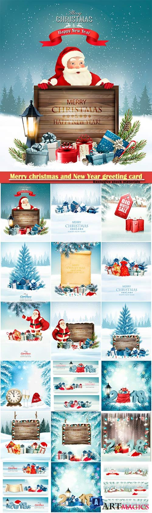 Merry christmas and New Year greeting card vector # 26