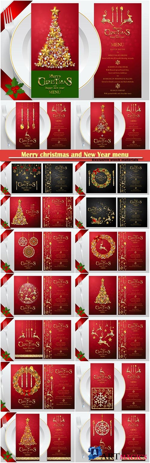 Merry christmas and New Year menu greeting card vector
