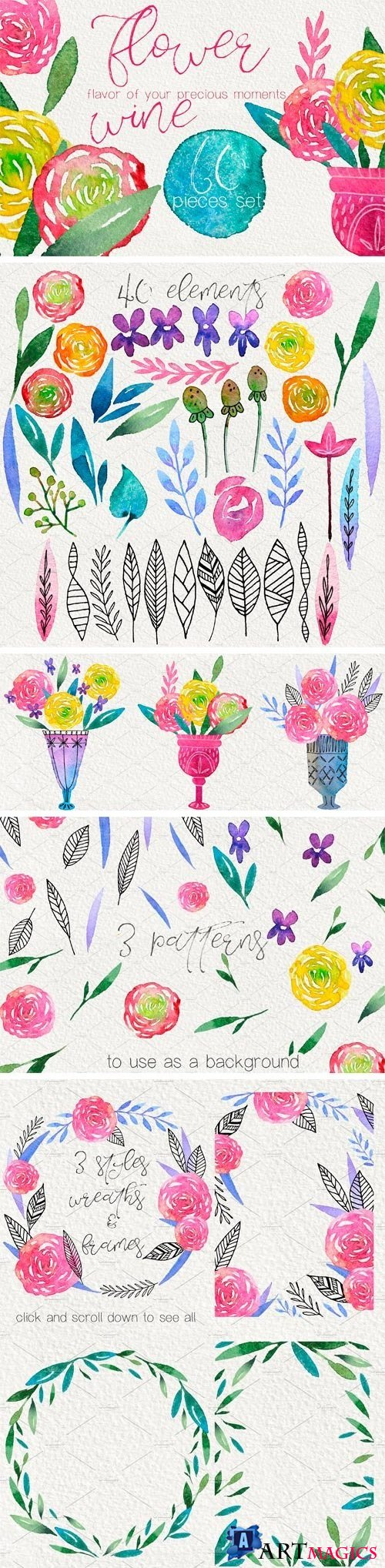 Flower Wine - Watercolor Design Kit - 2052627