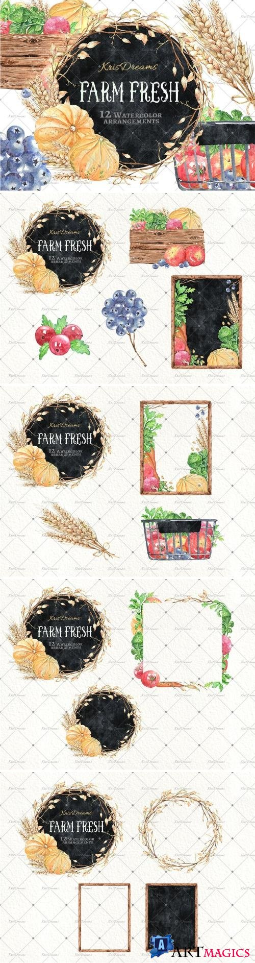 Farm Fresh Watercolor Arrangements - 2038758