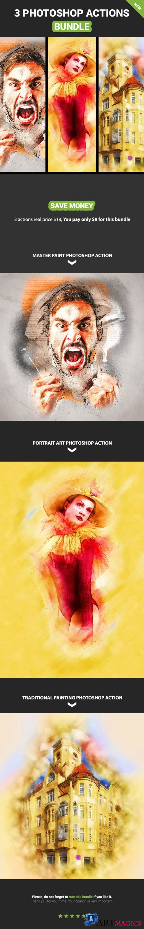 3 photoshop Action Bundle - Vol.6 - 20820820