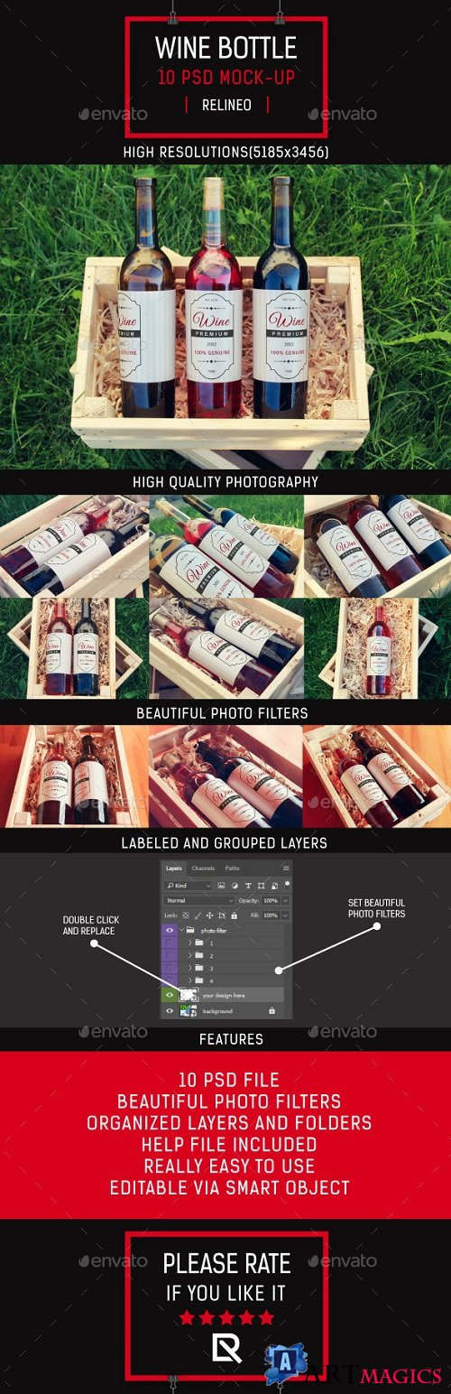 Wine Bottle Label Mock-up Pack 19301092