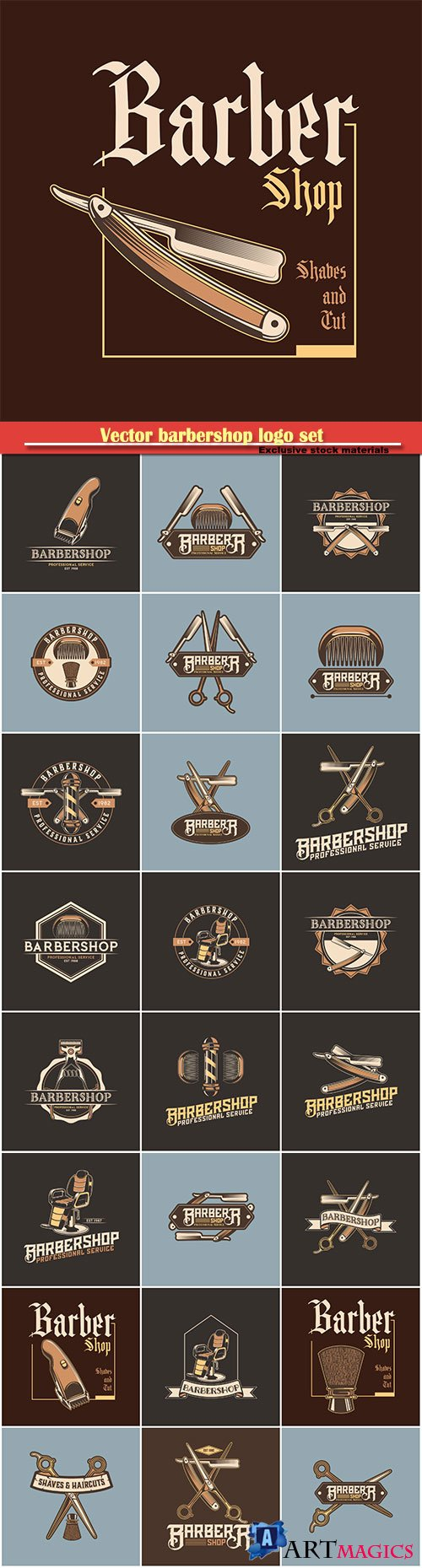 Vector barbershop logo set