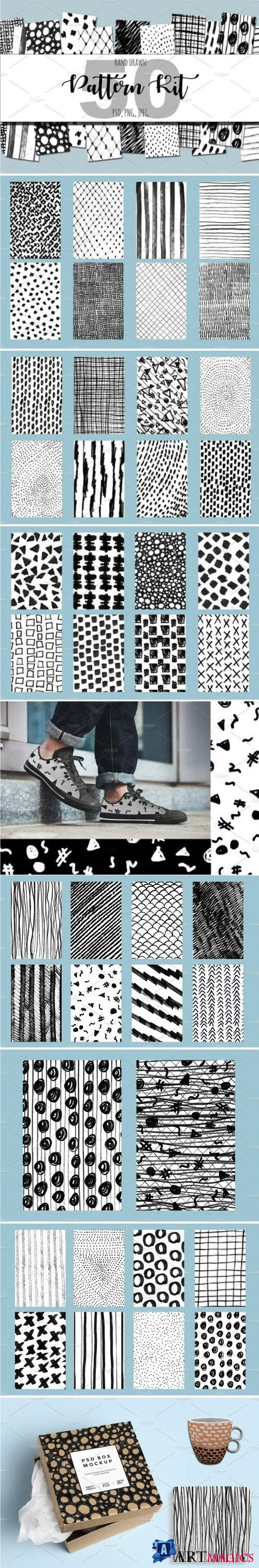 50 Hand Drawn Pattern Kit - 2068485