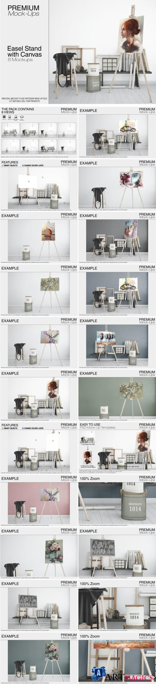 Easel Stand with Canvas - 2134874