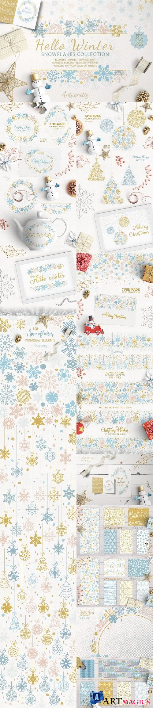 Sparkling snowflakes collection - 2104105