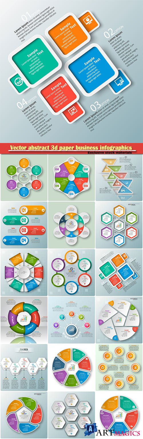 Vector abstract 3d paper business infographics elements